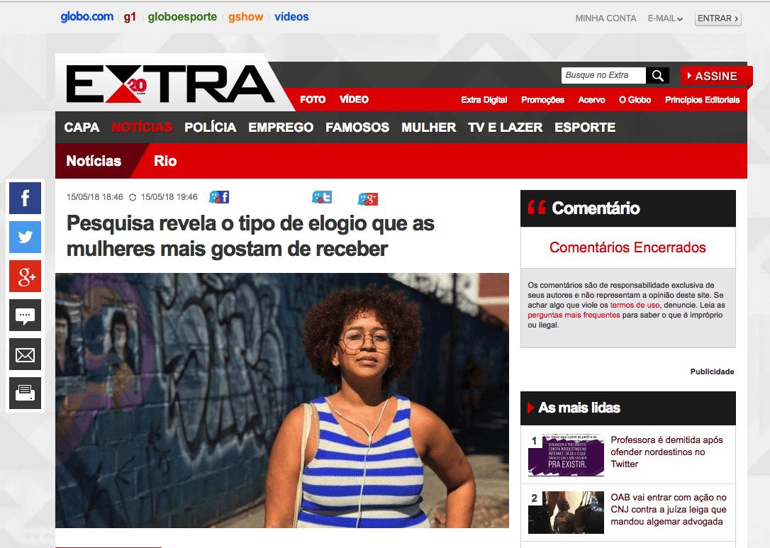 Globo: Pesquisa revela o tipo de elogio que as mulheres mais gostam de receber