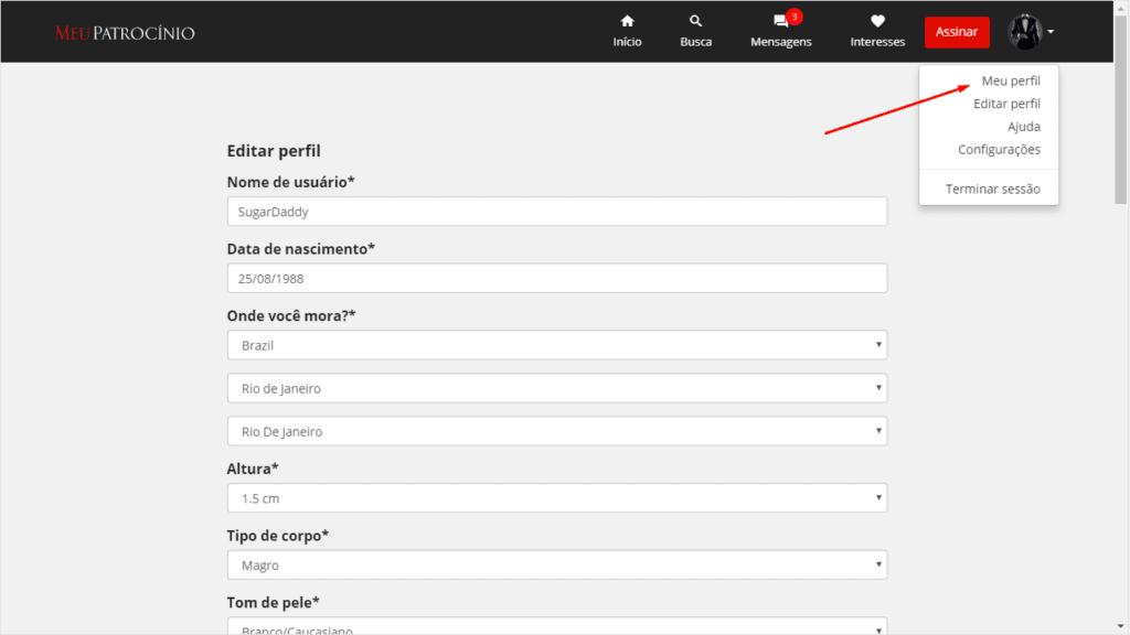 Como eu edito meu perfil?