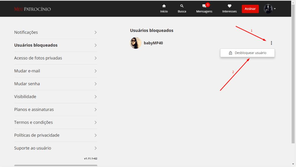 Como posso desbloquear um perfil bloqueado?