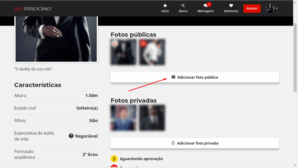 Como publicar fotos para que sejam exibidas em meu perfil?