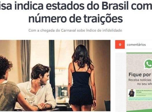 Pesquisa indica estados do Brasil com maior número de traições