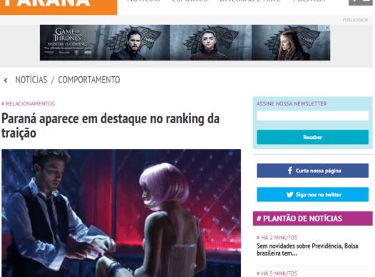 Paraná aparece em destaque no ranking da traição
