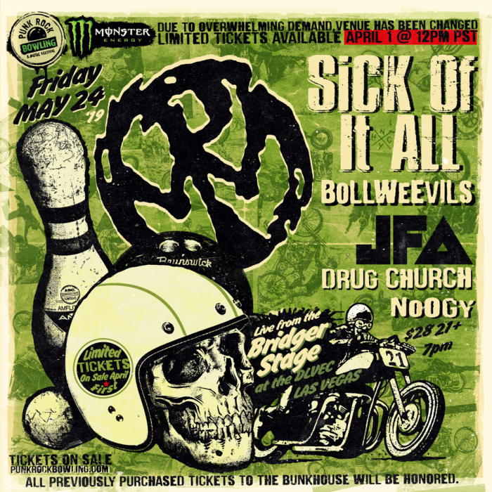 PENNYWISE, SICK OF IT ALL, JFA, DRUG CHURCH PUNK ROCK BOWLING 2019 CLUB SHOW LAS VEGAS Bridger Stage