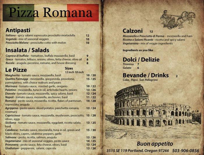 PIZZA ROMANA MENU