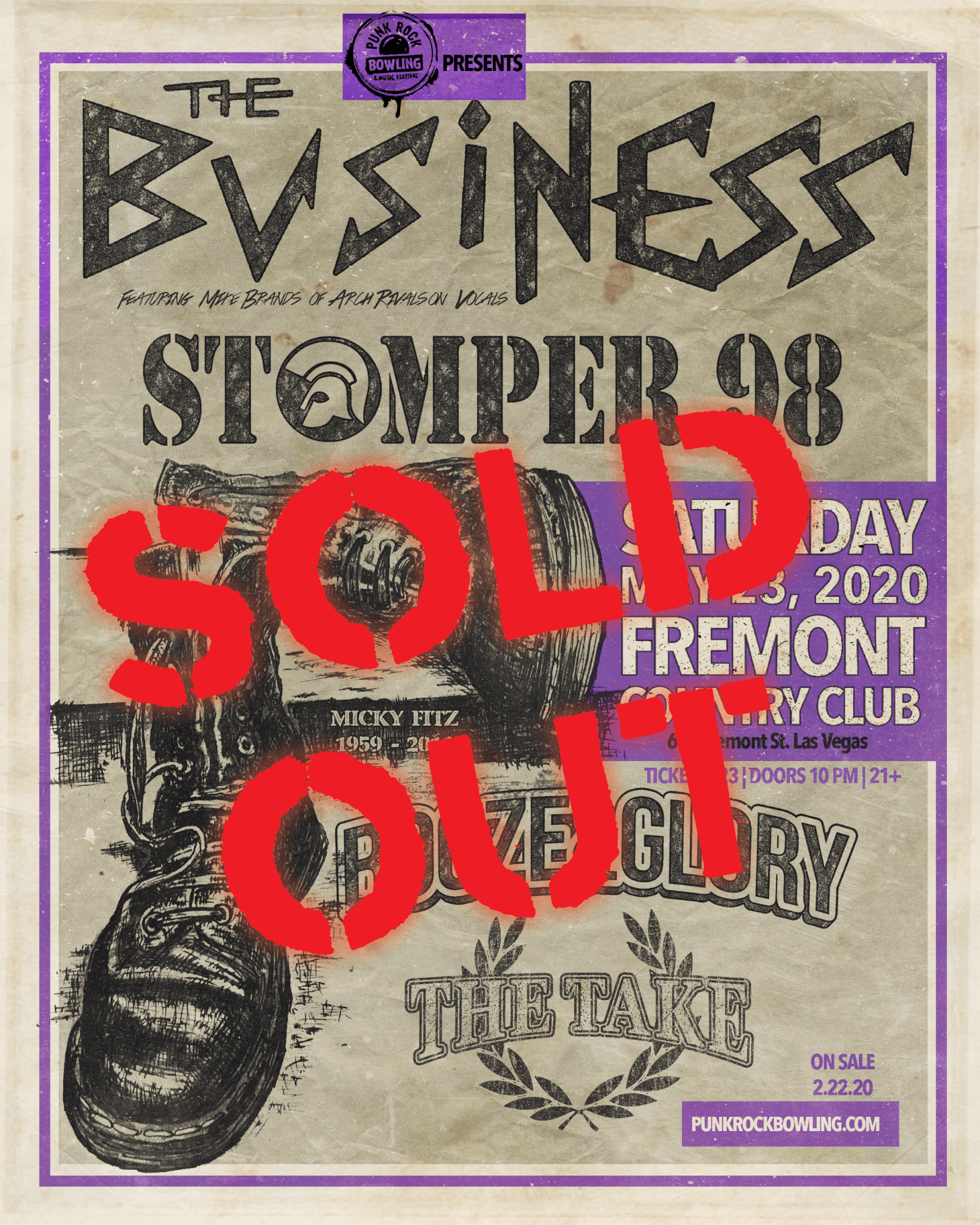 THE BUSINESS STOMPER 98 PUNK ROCK BOWLING 2020 sold out