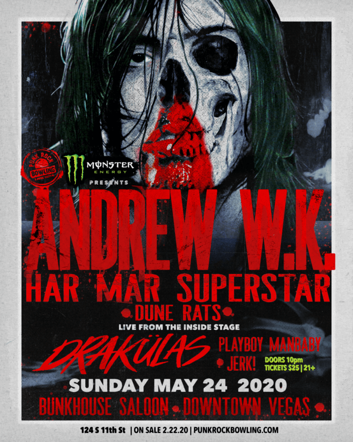 ANDREW WK HAR MAR SUPERSTAR PUNK ROCK BOWLING 2020
