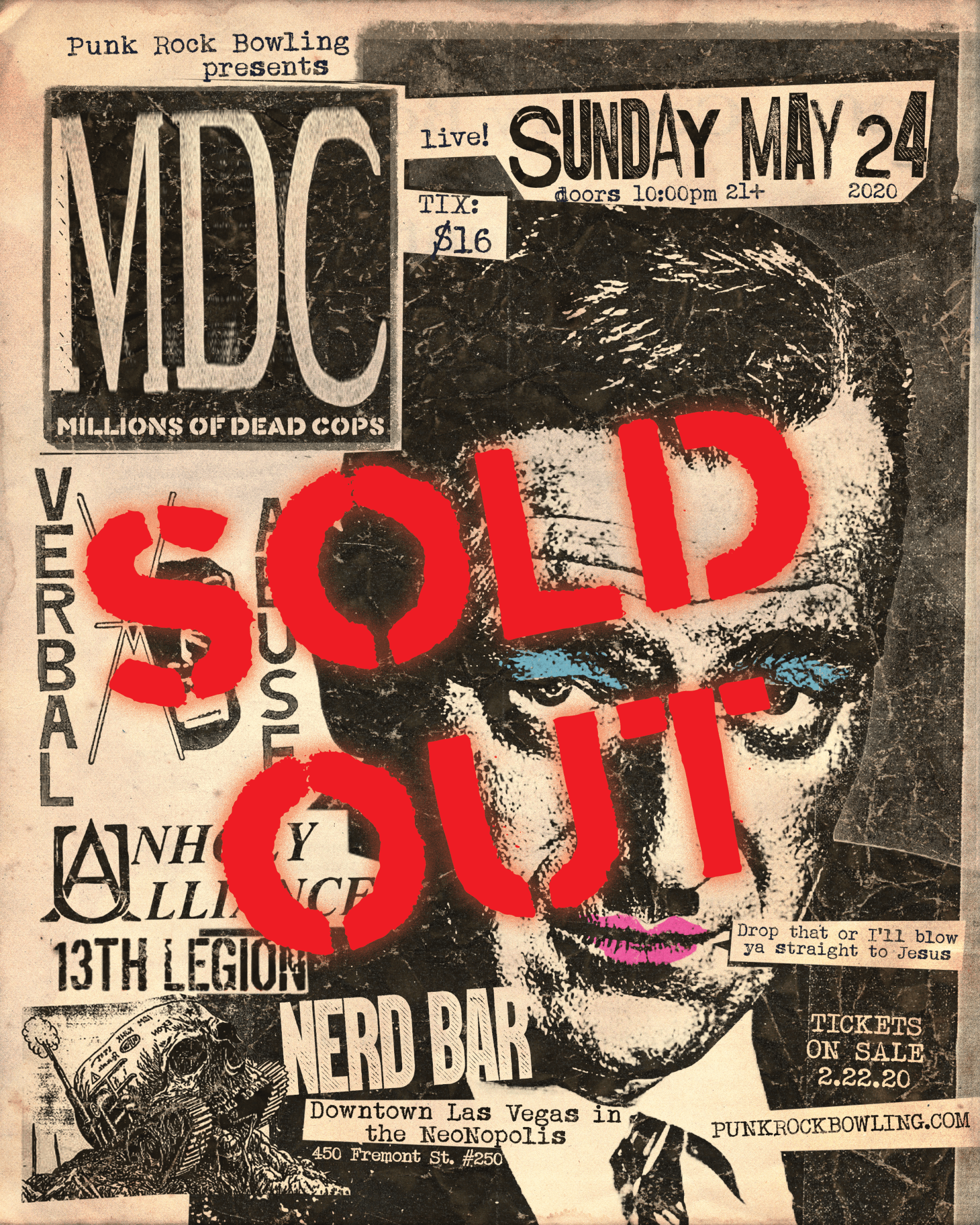 MDC Verbal Abuse Punk Rock Bowling 2020 Las Vegas sold out