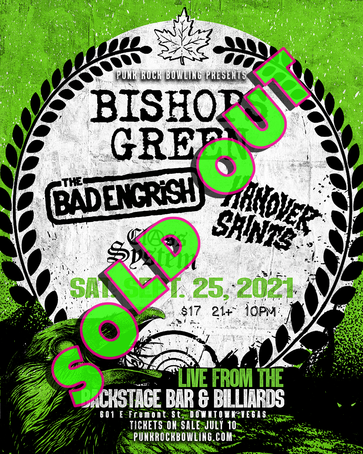 BISHOPS GREEN, THE BAD ENGRISH, HANOVER SAINTS, CLASS SYSTEM OI SHOW PUNK ROCK BOWLING 2021 AFTER PARTY SOLD OUT