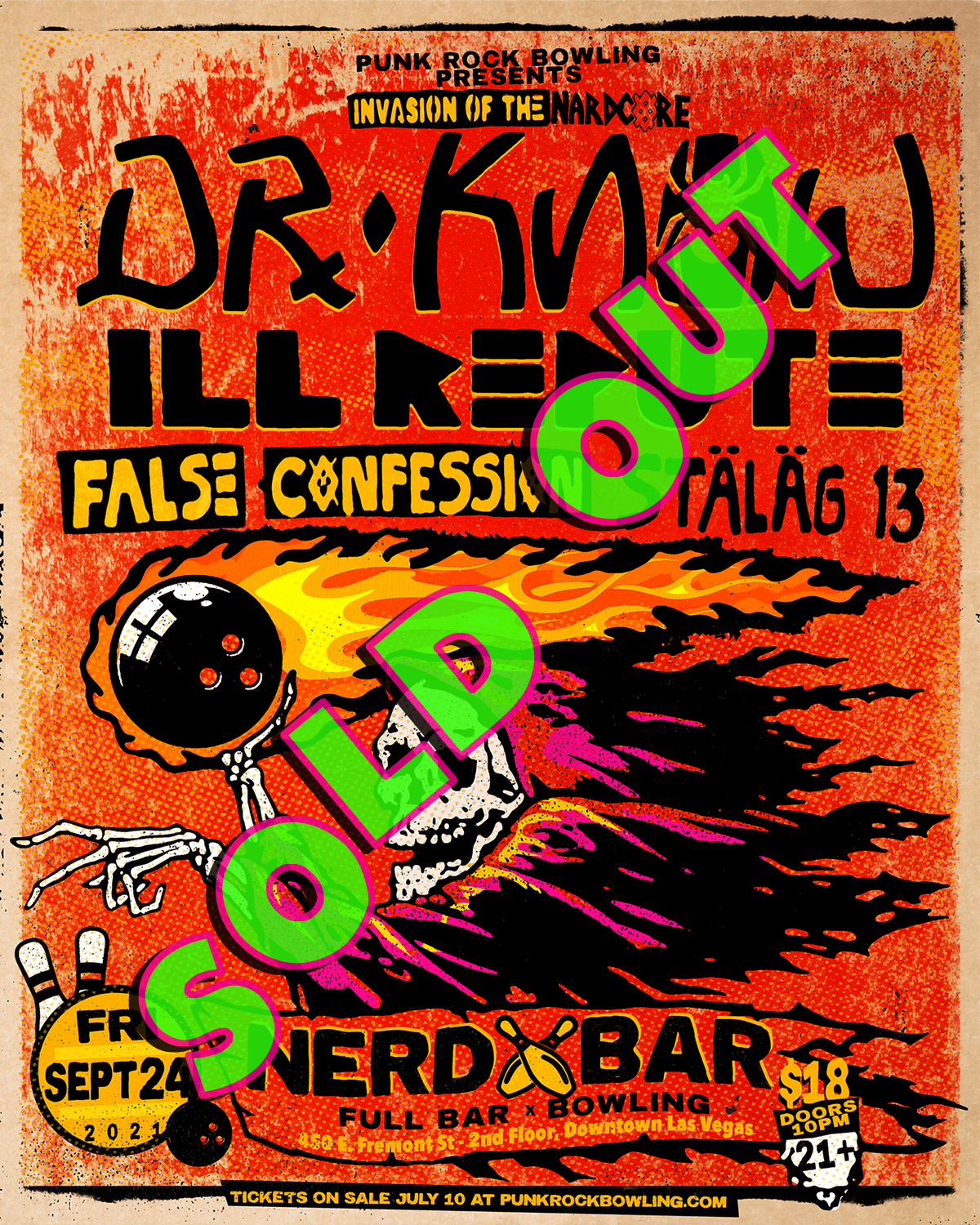 DR. KNOW, ILL REPUTE, FALSE CONFESSION, STALAG 13 PUNK ROCK BOWLING 2021 AFTER PARTY LAS VEGAS sold out