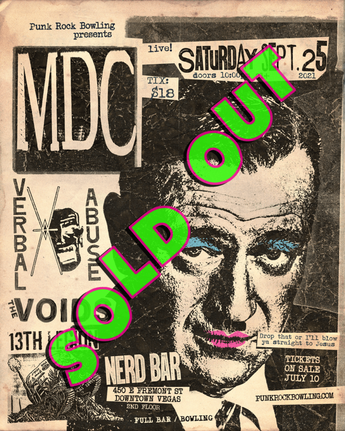 MDC, VERBAL ABUSE, THE VOIDS, 13TH LEGION PUNK ROCK BOWLING 2021 AFTER PARTY SOLD OUT