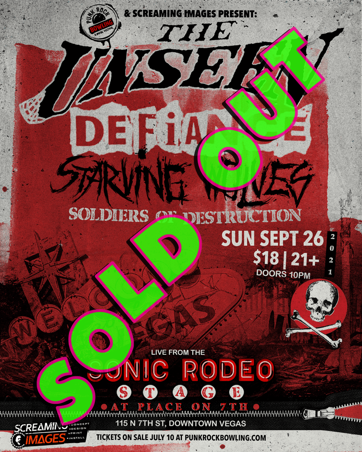 THE UNSEEN DEFIANCE STARVING WOLVES-PUNK ROCK BOWLING 2021 AFTER PARTY DOWNTOWN LAS VEGAS SOLD OUT