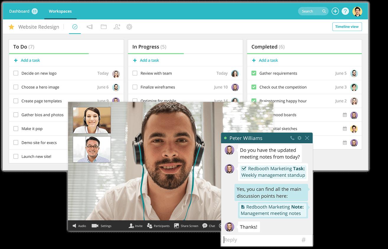 Redbooth interface demo, chat box, HD video screen -  » Wrike Alternative