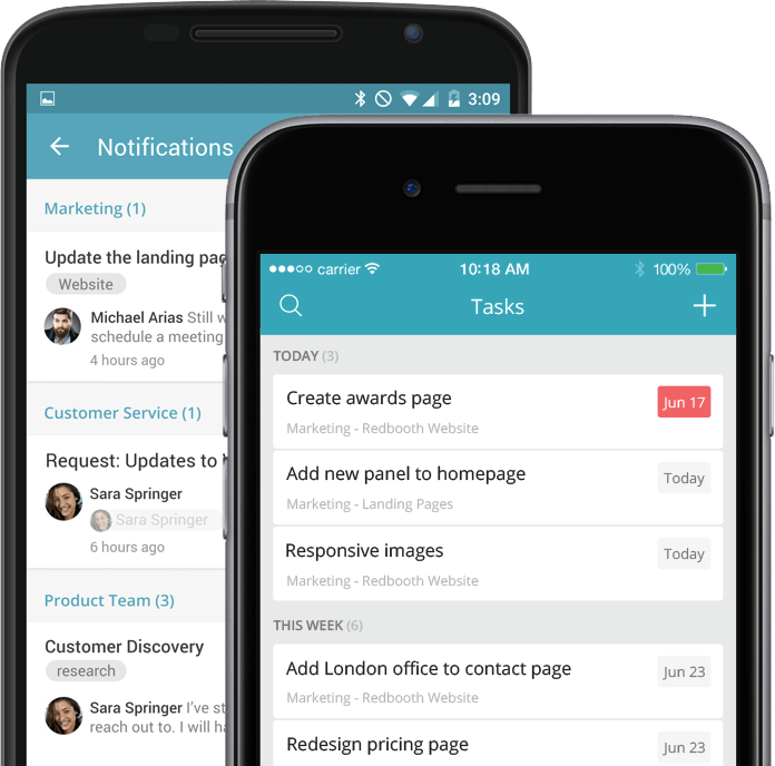 Android and iOS devices - Mobile Project Management App Download
