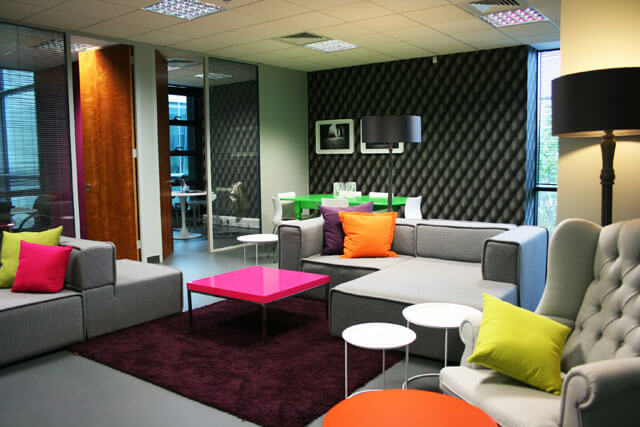 office with bright colors and pillows