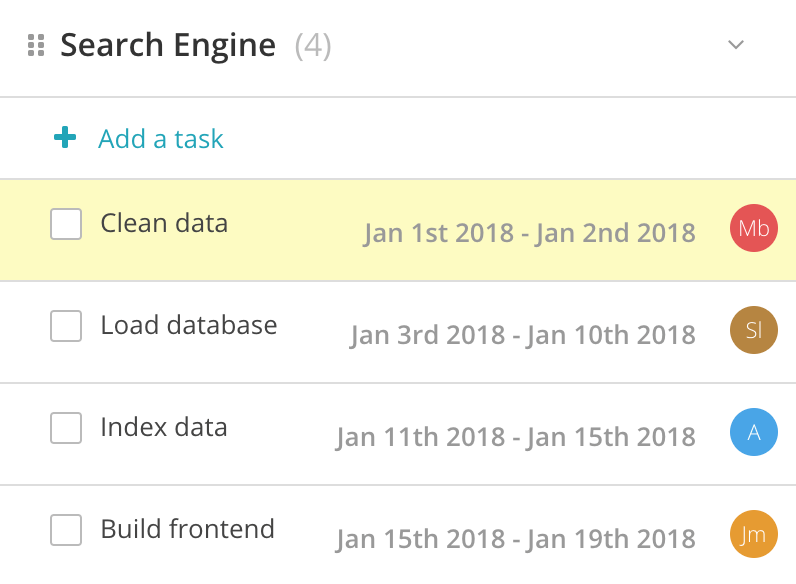 search engine project tasks and timeline assignments in Redbooth