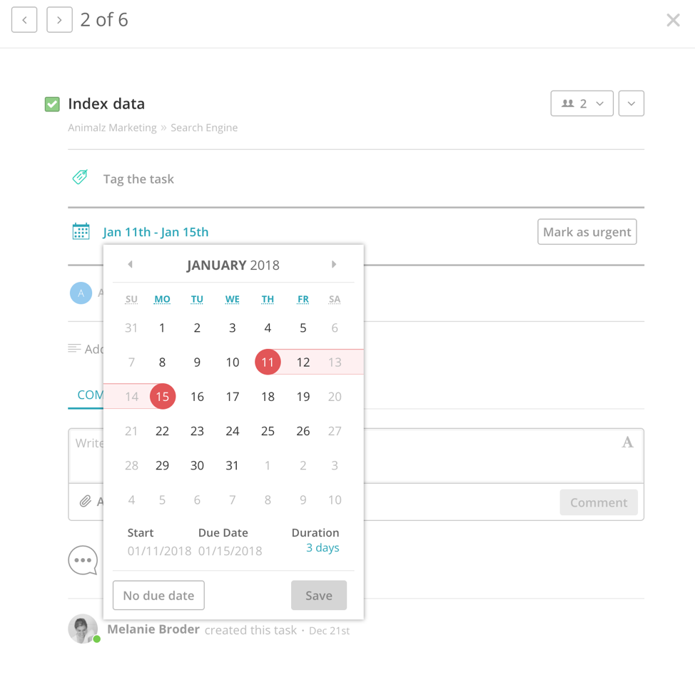 Redbooth Calendar view - Getting Started with Project Management