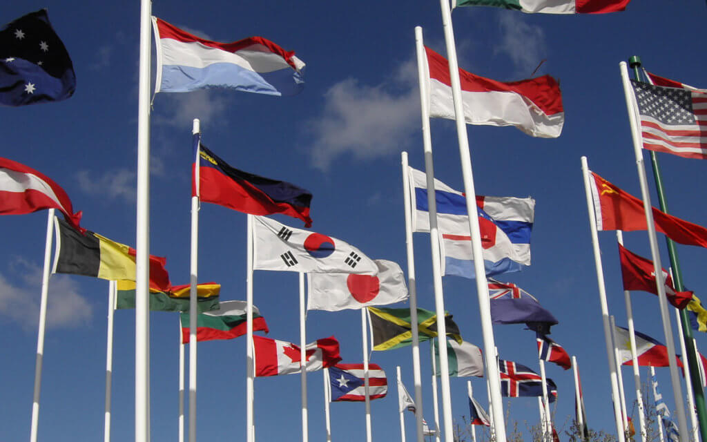 international flags waving
