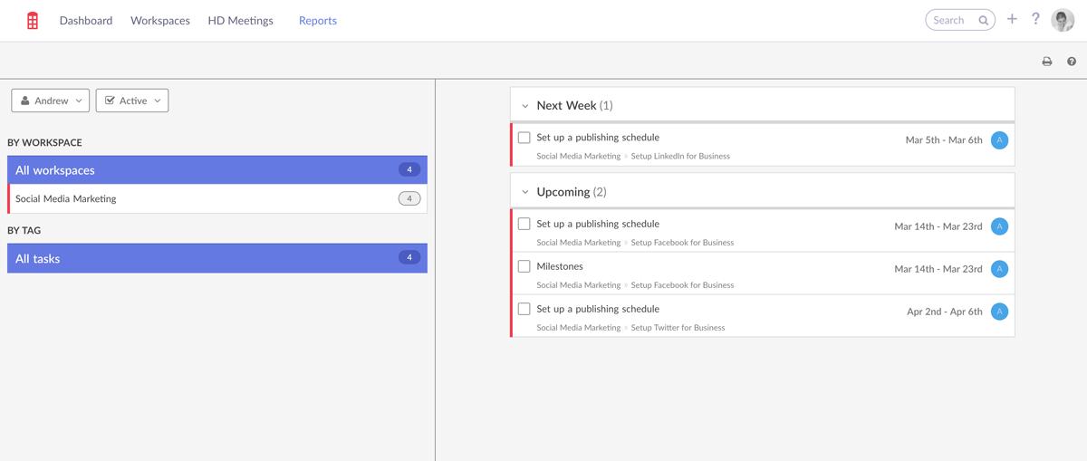 Redbooth screenshot of Social Media Marketing tasks