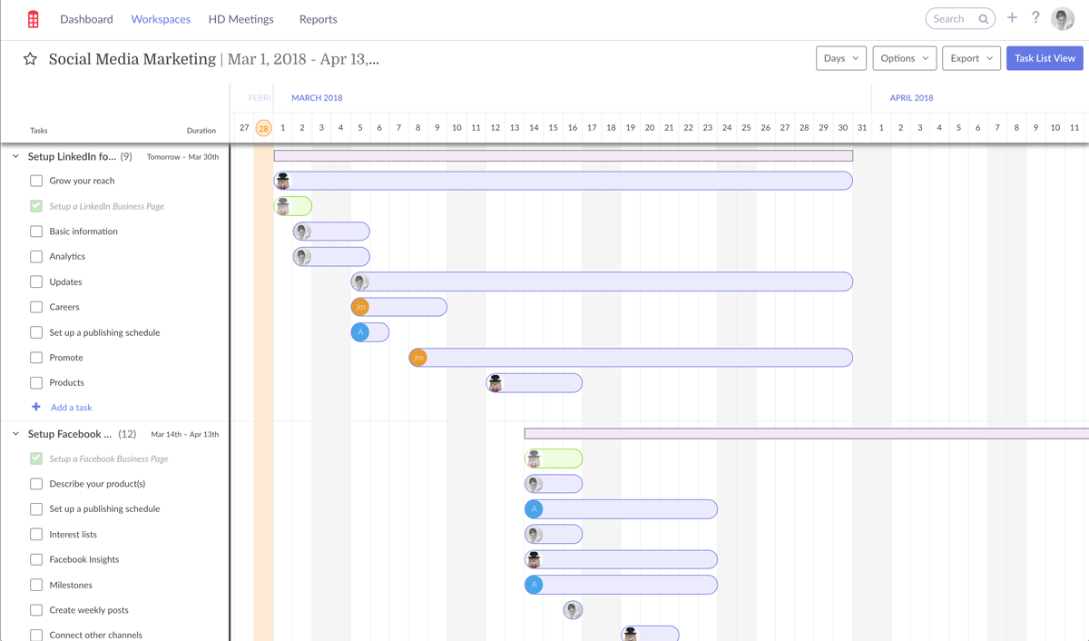 Redbooth Timeline View of a Social Media Marketing workspace