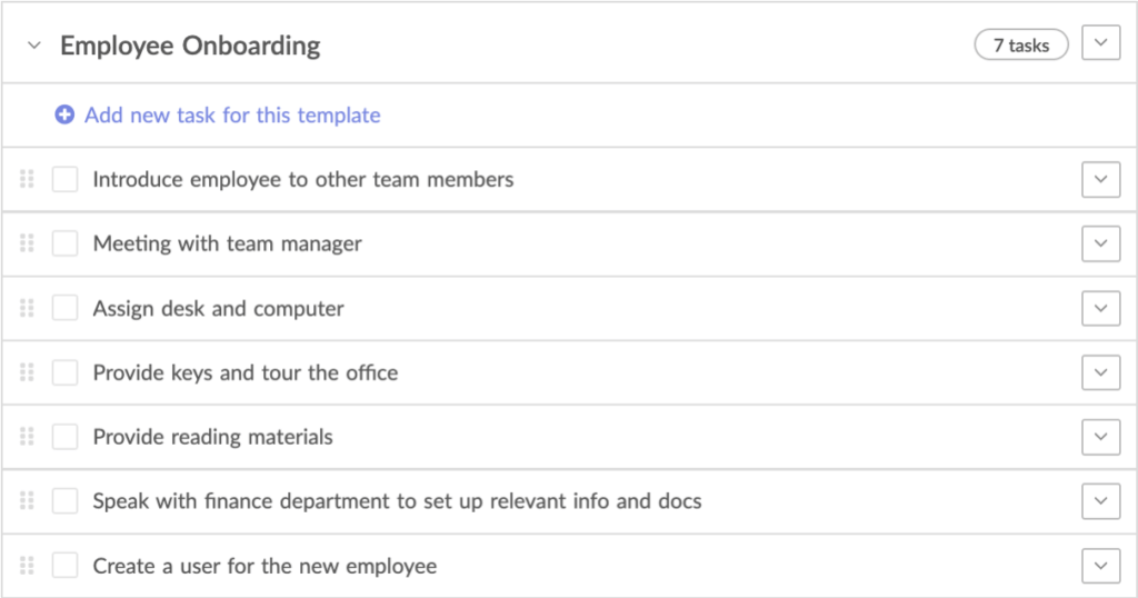 Employee onboarding task list template