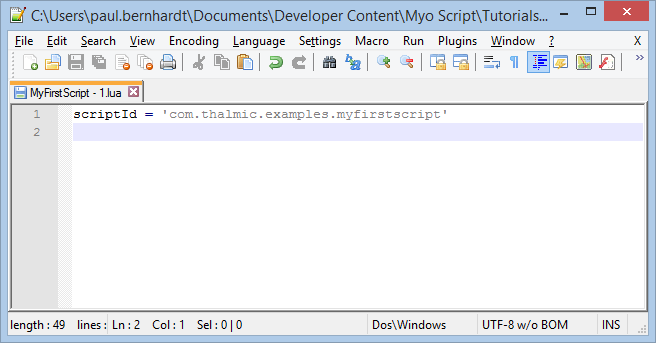 Fist Script in Notepad++