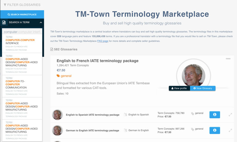 Search Terms in the TM-Town Terminology Marketplace