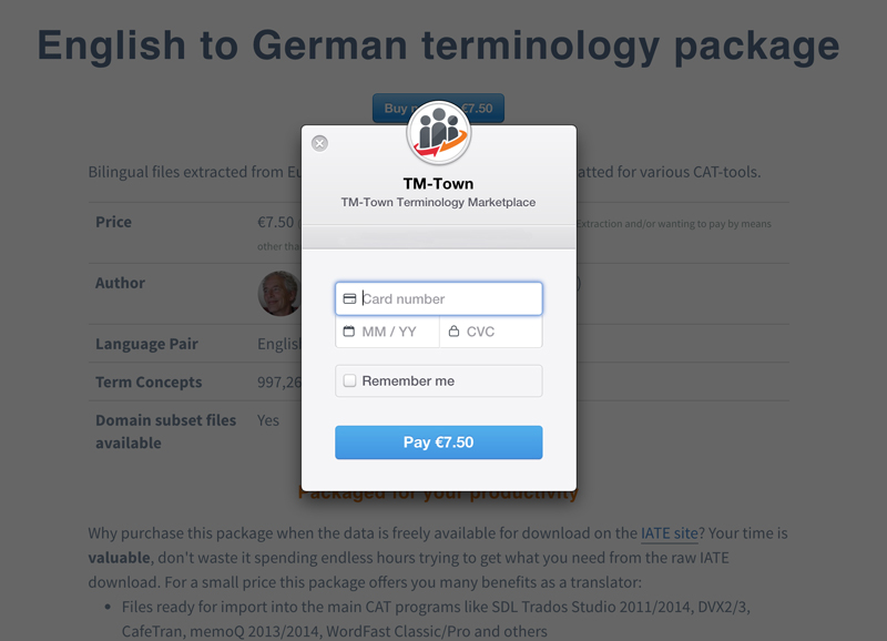 Purchase TM-Town Terminology Marketplace Glossaries With Your Credit Card