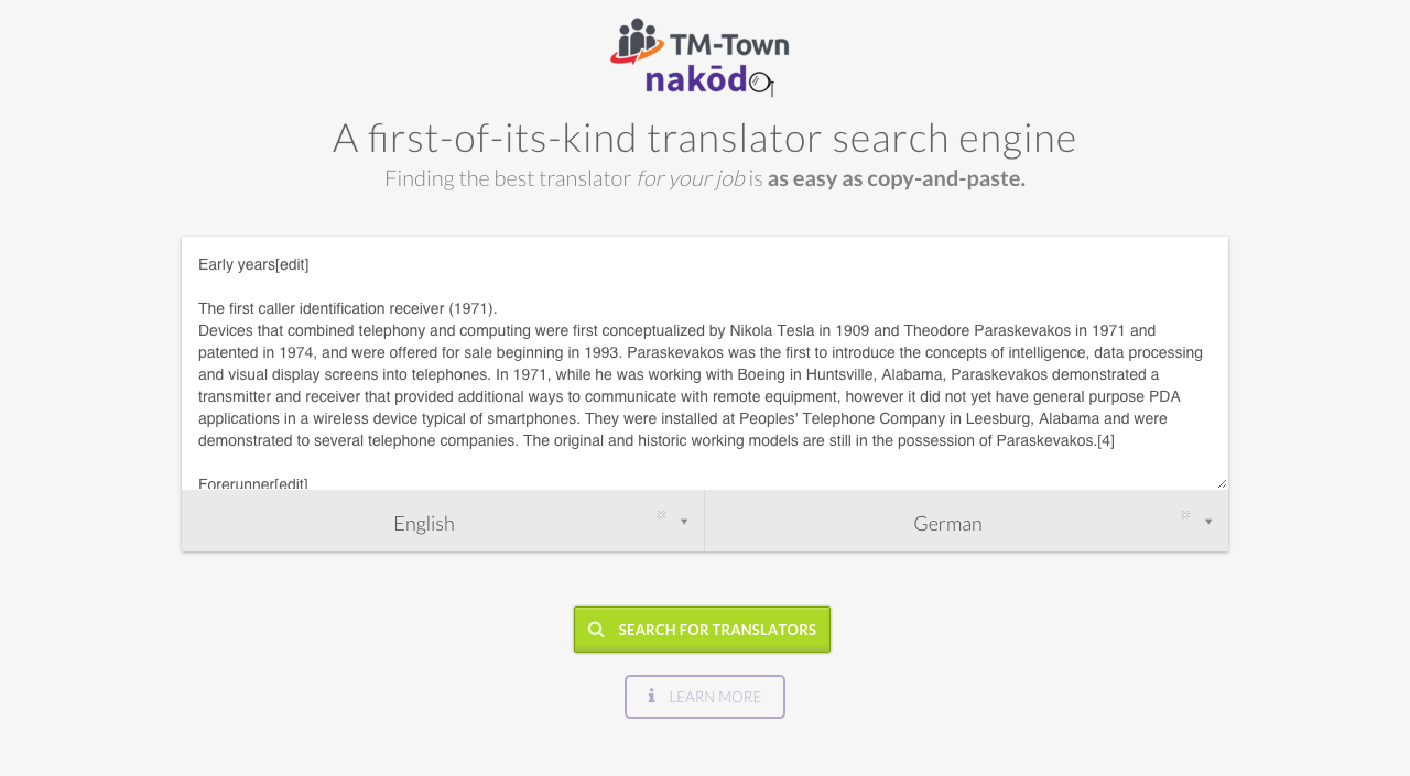 Nakōdo translator search engine