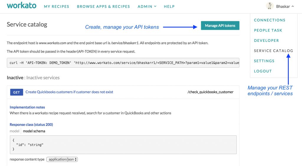 Manage Your APIs in the Service Catalog.