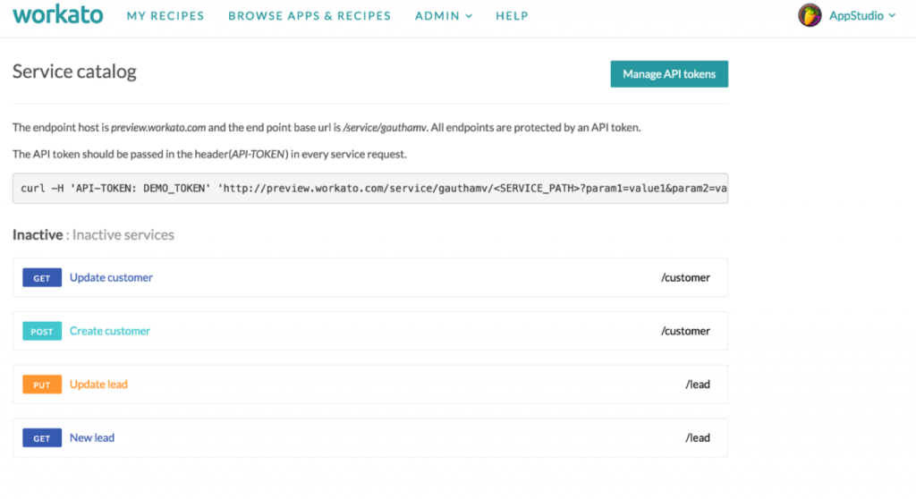 The Service Catalog will give you an overview of all your REST APIs. You can see which are active and inactive.