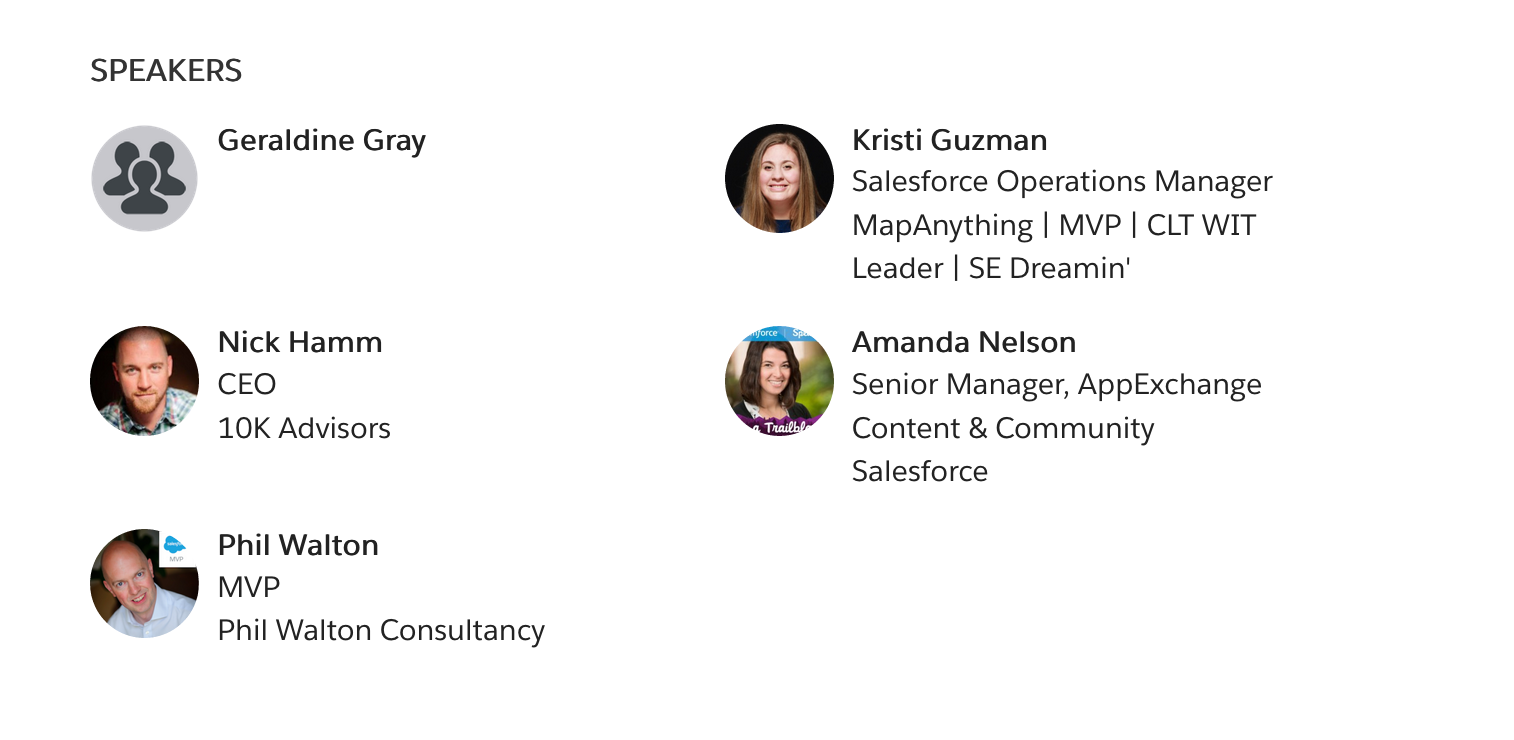 SalesforceMVp session speakers