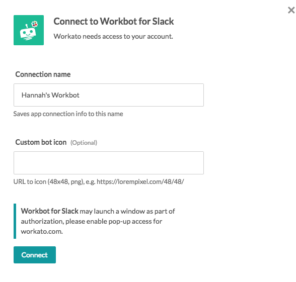 connect workbot for slack - a slack bot