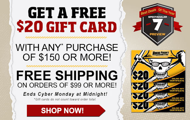 This Week Get A FREE $20 Gift Code With Any $150 Purchase Or More + FREE Shipping!