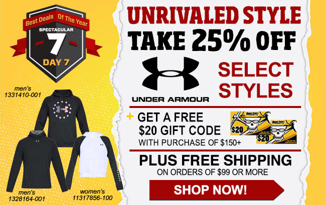 Take 25% Select Under Armour Styles + Get A FREE $20 Gift Card With $150 Order!