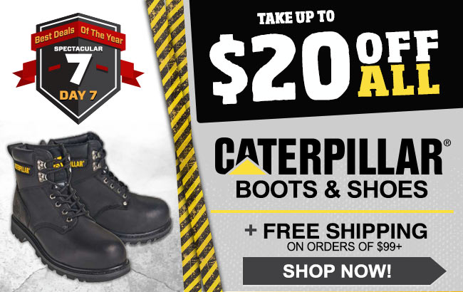 Take Up To $20 CAT Boots/Shoes + FREE Shipping!