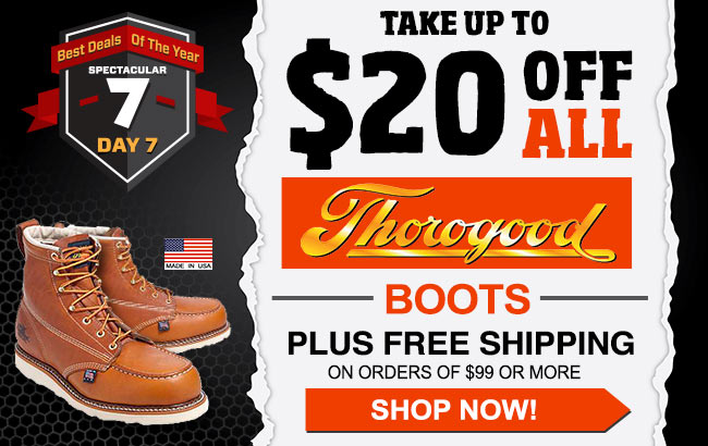 Take Up To $20 Thorogood Boots/Shoes + FREE Shipping!