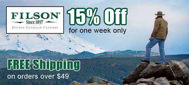 15 off filson for one week only at wps