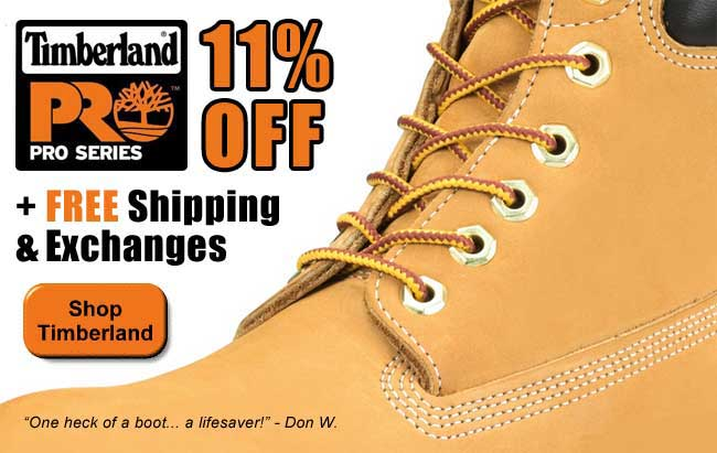 All Timberland PRO Boots 11% Off with FREE Shipping and Exchanges!