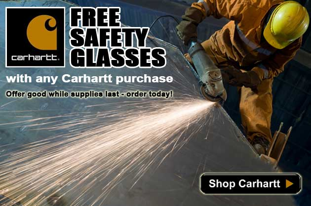 For a limited time, get a FREE pair of Carhartt safety glasses with the purchase of any Carhartt product!