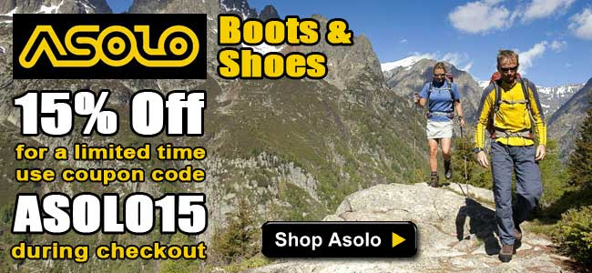 15% Off Asolo Boots & Shoes! Use coupon code ASOLO15 during checkout.