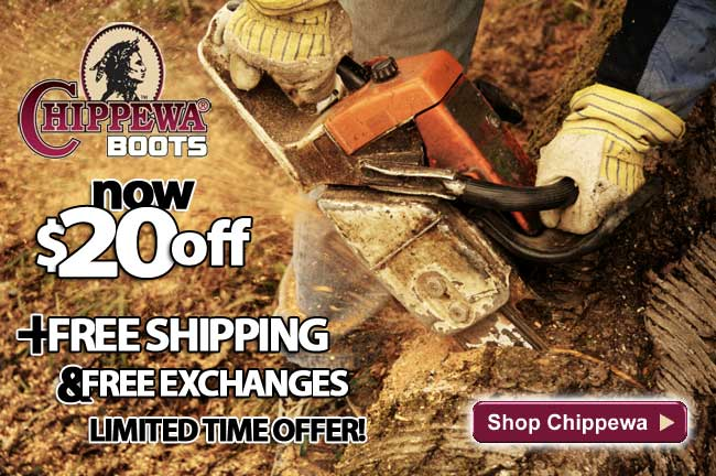 All Chippewa Boots & Shoes $20 Off + FREE Shipping & FREE Exchanges! Limited Time Offer - Order Yours Today!