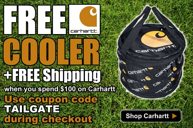 For a limited time, get a FREE Carhartt cooler and FREE shipping when you spend $100 on Carhartt!