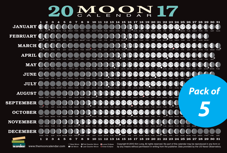 2017 Moon Calendar Card The Experiment