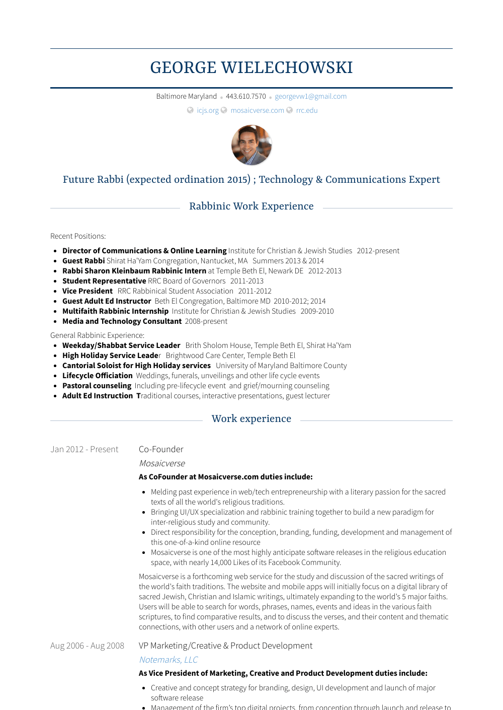 Co-founder - Resume Samples & Templates | VisualCV