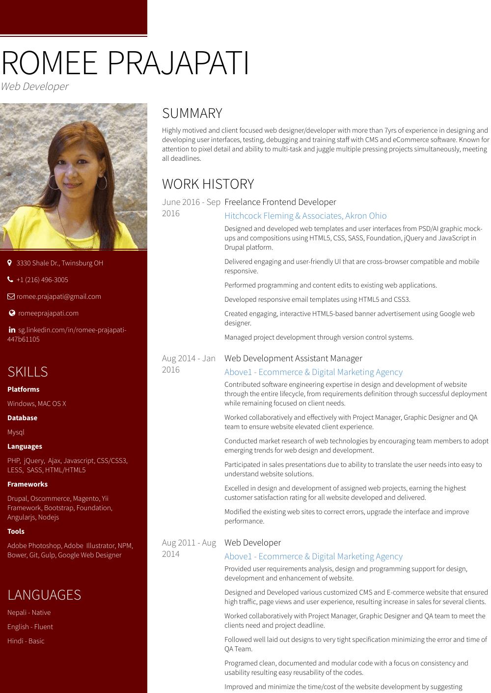 Development Assistant Resume Sample