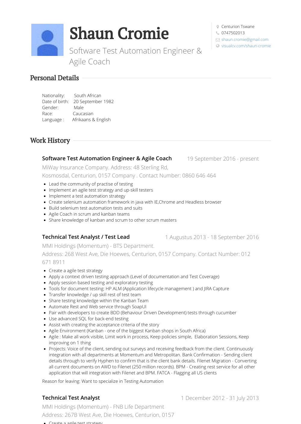 Test Analyst Resume Samples Templates Visualcv