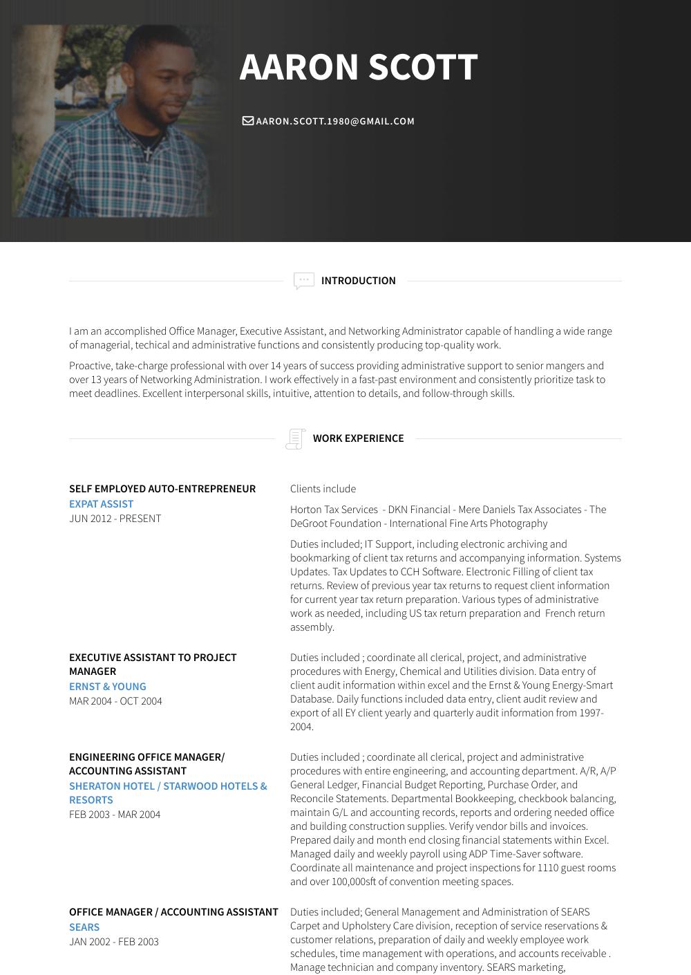 Self Resume Sample