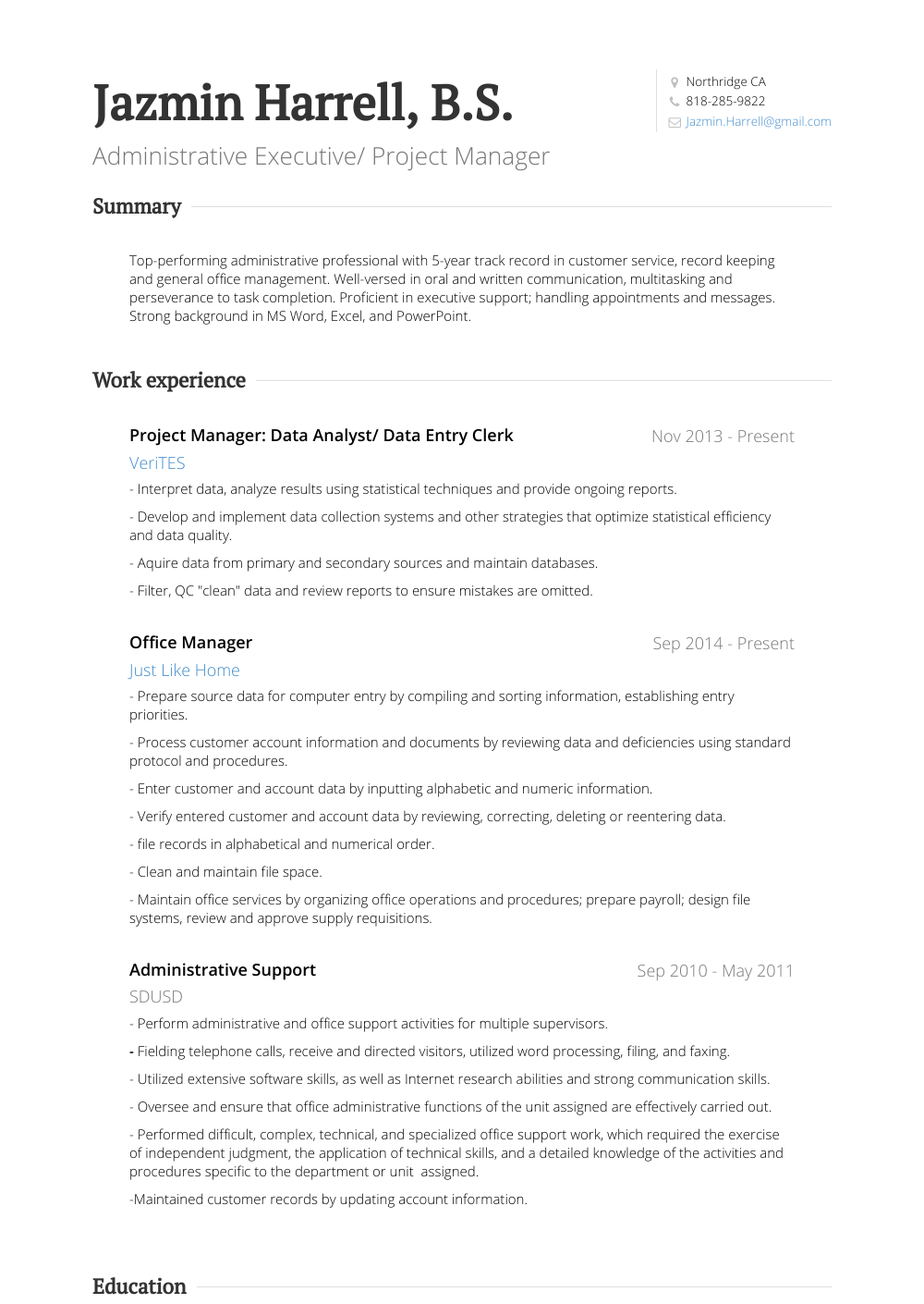 Data Entry Clerk Resume Samples Amp Templates Visualcv