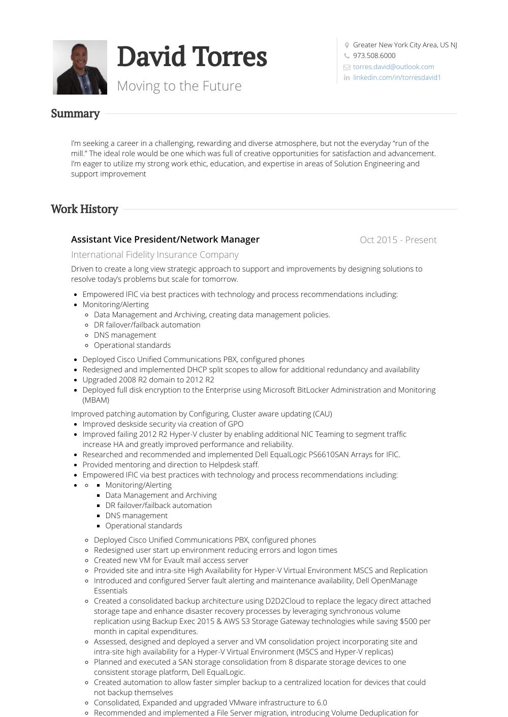 Network Manager - Resume Samples & Templates | VisualCV