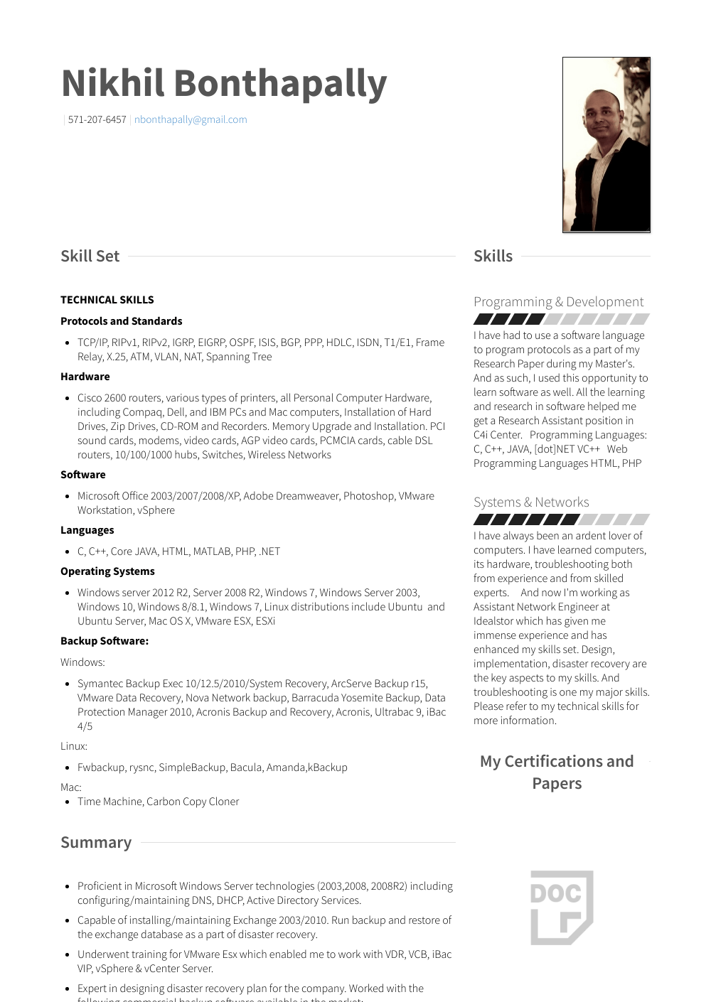 System Admin - Resume Samples & Templates | VisualCV